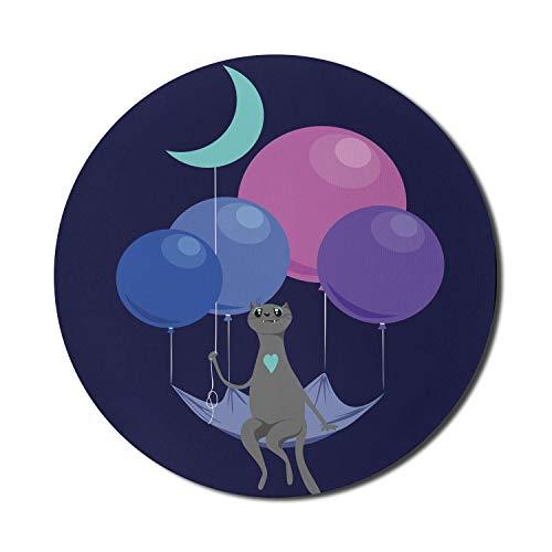 Flying Cat Mouse Pad für Computer, Muster eines Kätzchens mit Luftballons und Halbmond, das im dunklen Nachthimmel fliegt, rundes, rutschfestes, dickes, modernes Gaming-Mousepad aus Gummi, 8 'rund, me