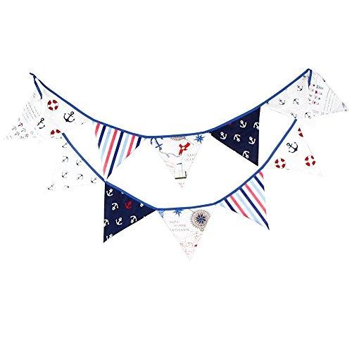 G2PLUS Guirnalda de 12dibujos, banderines, Banderolas, Colores alegres, para exterior (Azul)