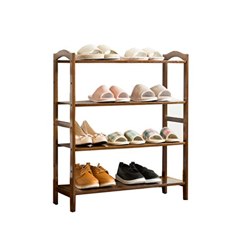 ZZYE Zapatero 4 niveles zapatillas de madera Mueble de almacenamiento de madera Muebles de muebles Organizador de zapatos Estante de bambú para 12 pares (marrón) (L) 69x (d) 25.5x (H) 80 cm Perchero Z