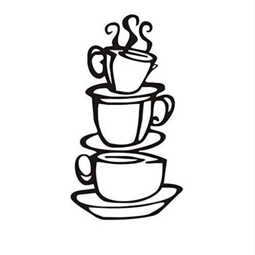 Lglays Tazas de café para casa nueva DIY removible arte de pared calcomanías vinilo adhesivo de pared Home Cocina cafetería Decoración Accesorios 13 * 38 cm