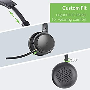 Avantree AH6B Bluetooth 5.0 Headset with Detachable Microphone, Mute Function, Clear Talk, HiFi Music, Soft Padding, Wireless Headphones for Professionals, Mac, PC, Computer, Laptop, Skype, Cell Phone