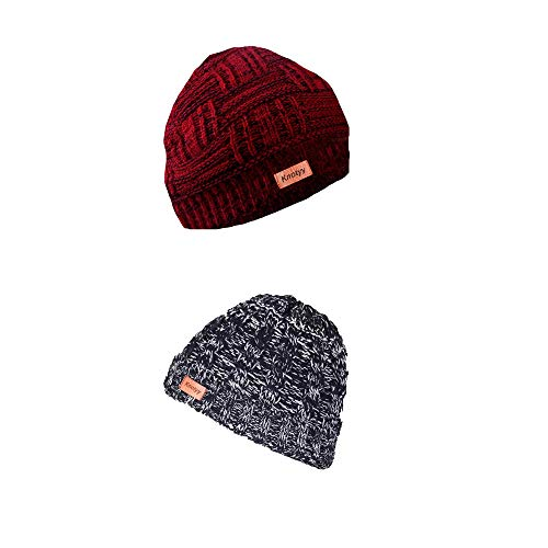 Knotyy Unisex Combo Beanie Caps, Woollen Caps, Knitted Slouchy Caps, Skull Cap (Pack of 2)