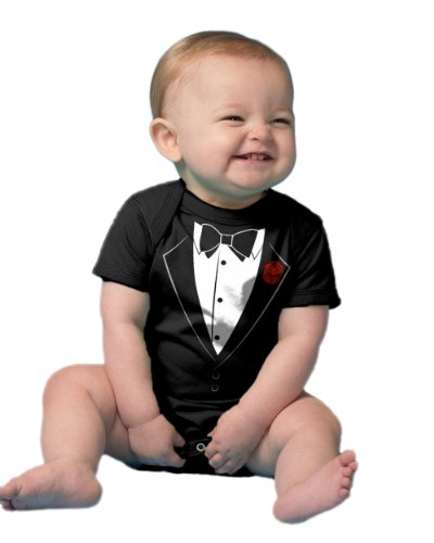 Ann Arbor T-shirt Co. Unisex Baby Tuxedo Baby Funny Infant Humor One Piece-18 Month Black