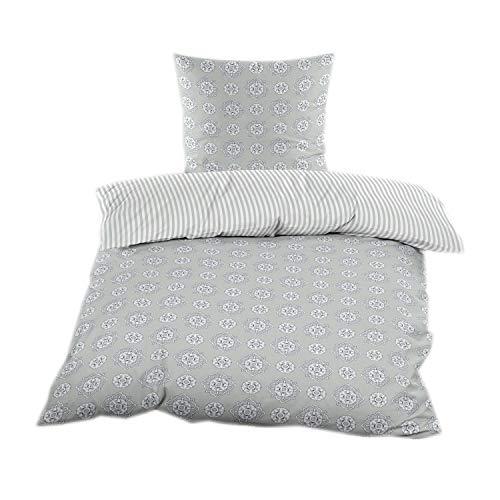 blanco negro 135x200 cm con cierre de cremallera algodón renforce Ropa de cama 2tlg