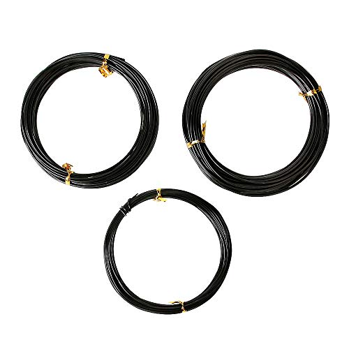 Quality Black Long Lasting Bonsai Training Wire Set of 3 Sizes - 1.0mm, 1.5mm, 2.0mm (32 Feet Each Size)