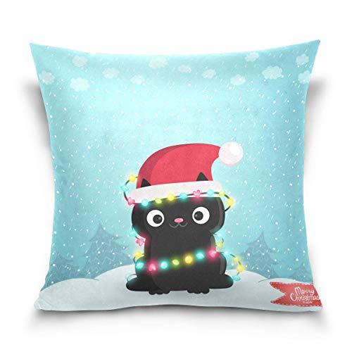Joe-shop Funda de Almohada Navidad Funda de Almohada de Gato Negro Fundas de cojín cuadradas Decorativas Funda de Almohada para Dormitorio Sala de Estar Sofá Fiesta 18x18 Pulgadas PLW-229