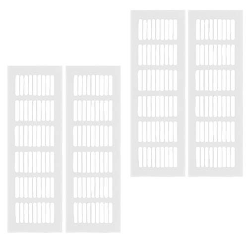 Griglie di Ventilazione,4 Pezzi Griglia di Scarico Dell\'aria Lega di Alluminio Griglia Areazione Rettangolare,per Armadio Scarpe Lavello Cucina Armadio Vetrina Porta Argento(80X250mm)