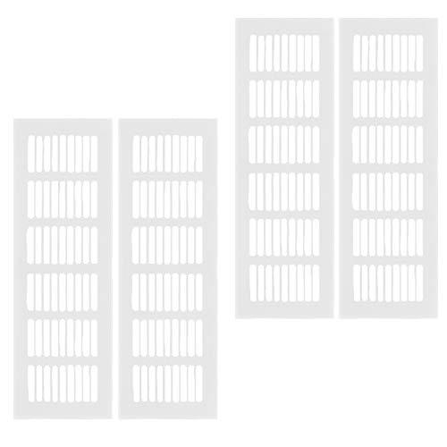 Rejilla Ventilacion,4 Piezas Rejilla Rectangular Aleación de Aluminio Placa de Ventilación,para Guardarropas Zapateros Gabinetes Gabinetes de Almacenamiento Puertas TechosPlata(80X250mm)