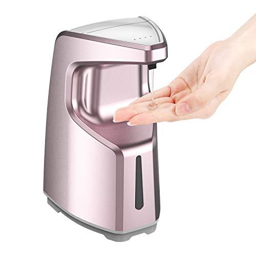 Zienstar-Dispensador de Jabón Automático,Dispensador de Bomba de Líquido con Sensor de Baño sin Contacto,Encimera de 500ml / Montado en la Pared para la Ducha de la Cocina (Rosa)