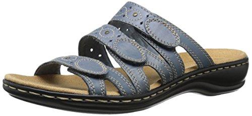 Clarks Women's Leisa Cacti Slide Sandal, Denim Blue Leather, 9 W US