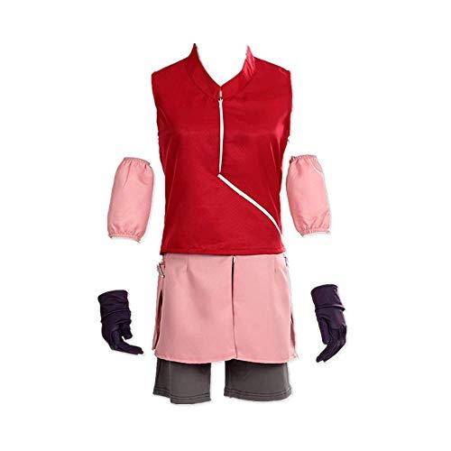ULLAA 7PCS Anime Naruto Haruno Sakura Halloween Karneval Cosplay Kostüm Outfit Täglich Sportswear Uniform Ninja Kleidung Anzüge Hohe Qualität