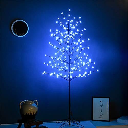 Leruckdite LED Cherry Blossom Tree Light 6ft 208L Light Blue Artificial Flower Decoration for Bedroom Indoor Outdoor Home Festival Party Wedding Christmas