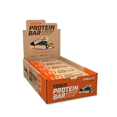 BioTechUSA Vegan Protein Bar, barretta proteica senza glutine e lattosio, con fonti proteiche di origine vegetale, ricoperta da delizioso cioccolato, senza zuccheri aggiunti, 20*50 g, Burro d'arachidi
