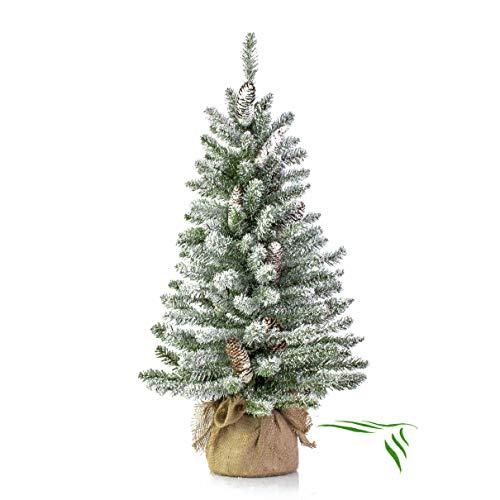 artplants.de Mini Albero di Natale Vienna in Sacco di Iuta, innevato, 90cm, Ø 50cm - Abete Artificiale/Albero Tessile