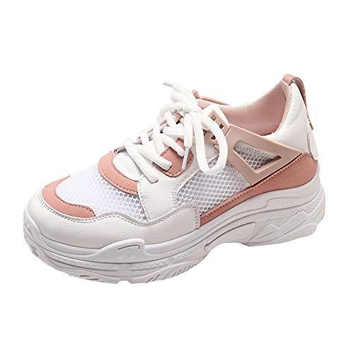 Zapatillas de Deportivos de Running para Mujer de Malla Inferior Gruesa para Damas de Verano Estudiantes Transpirables Zapatos Casuales Gimnasia Ligero Sneakers riou