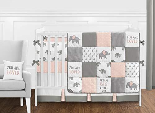 Sweet Jojo Designs Blush Pink, Grey and White Watercolor Elephant Safari Baby Girl Crib Bedding Set with Bumper - 9 Pieces