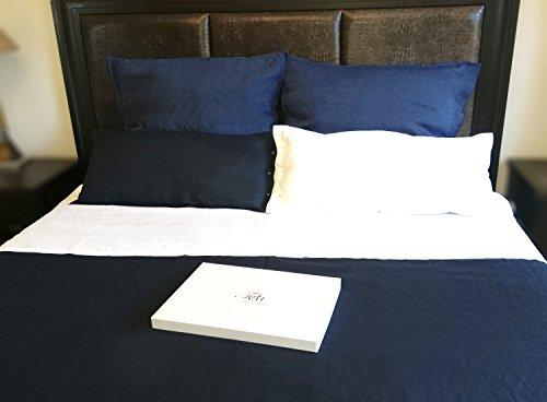 100% Natural Linen Duvet Set Oeko Tex, Navy Blue 5-pieces Set, 1x240x220 2x80x80 2x80x40 New in Giftbox