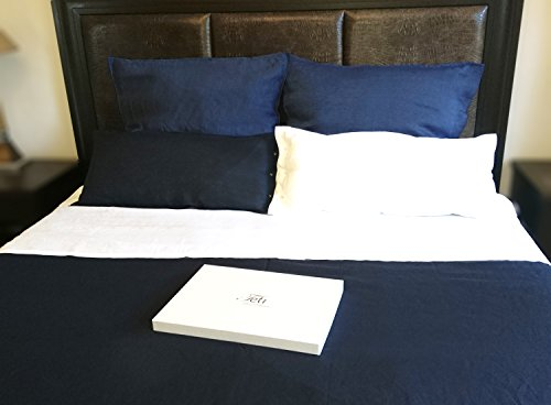 TETI 100% Leinen 3-teiliges Bettwäsche-Set Öko Tex Marineblau Navy Blue 1x200x200 2x80x80 Neu in Geschenkbox