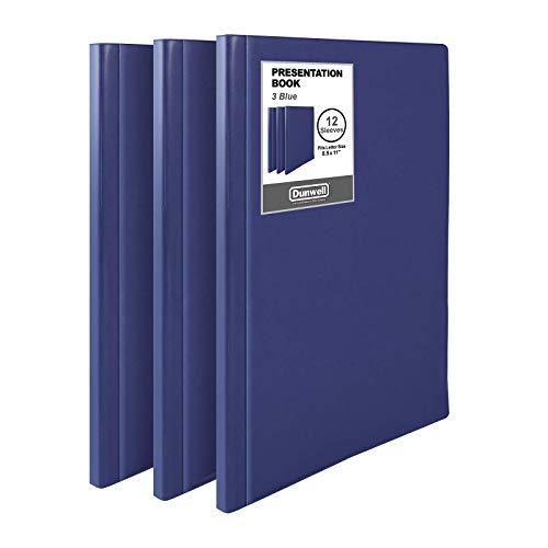 "Dunwell 12-Pocket Portfolio Presentation Binders - (Blue, 3 Pack), Bound Presentation Books with Plastic Sleeves, Each Displays 24 Pages 8.5x11"" Sheets, Pockets Binders, Sheet Protector Binders"