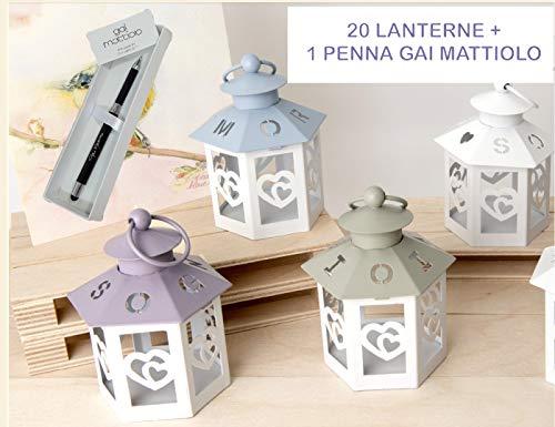 20 Lanterne 4 Colori Con Scritta Sogni, Amore, Gioia + 1 PENNA Firmata Gai Mattiolo