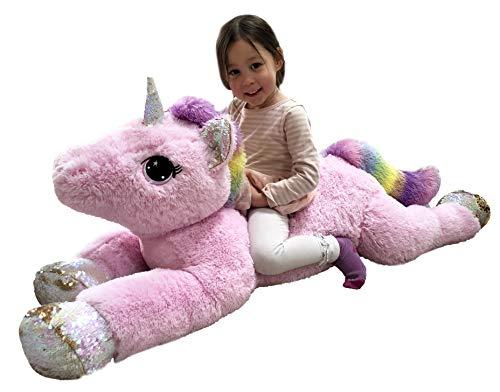 "Goffa Jumbo Pink Unicorn Plush, Reversible Sequins, 51"""