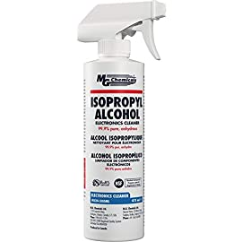 MG Chemicals 99.9% Isopropyl Alcohol Electronics Cleaner, 475 mL Liquid Spray Bottle, Clear (824-500ML) 5 99.9% Anhydrous solvent—Removes water and humidity from components leaving them dry Meets reagent ACS Meets MIL Spec TT-I-735A and ASTM D770