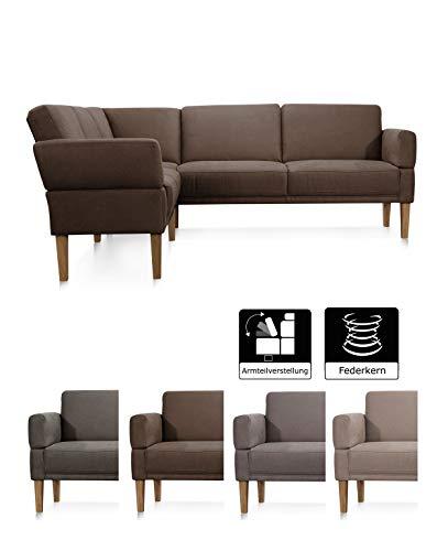 Cavadore Eckbank Femarn mit Federkern und verstellbaren Armlehnen, Sitzecke für Küche oder Esszimmer, 254 x 98 x 195 cm, Mikrofaser Lederoptik braun