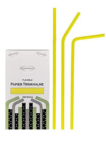 EventHeart - Pajitas de Papel Flexibles (150 Unidades, 24 cm, biodegradables)