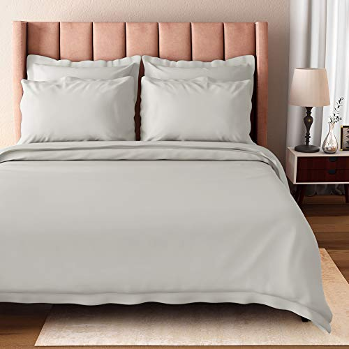 BIOWEAVES 100% Organic Cotton Twin/Twin XL Duvet Cover Set, 2-Piece, 300 Thread Count Sateen Weave GOTS Certified Comforter Cover with Buttoned Closure and 1 Pillow Sham – Light Grey, 66x90 inches
