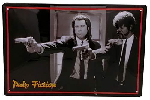 Pulp Fiction Filmplakat - hochwertig geprägtes Blechschild, 30 x 20 cm Wanddekoration