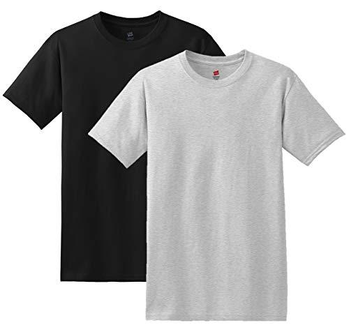 Hanes Men's 4Pack Crew Neck Tagless Black-Grey Undershirts Crewneck T-Shirt L