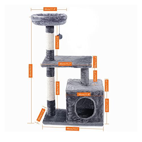 SHUYANshiyu Empresa doméstica Árbol Actividad Centro Scrapper Tocando Árbol Muebles Muebles Post Sisal Escalada Marco con Juguetes Cat Apartamentos (Color : AMT0044Gray, Size : L)