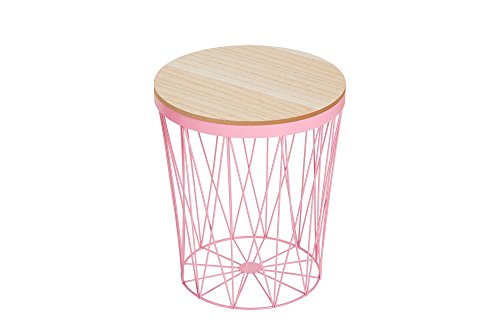 DuNord Design Roze Metaal Ronde Zijtafel Rieten Tafel Koffie Tafel Mand Tafel Arezzo II