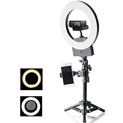 """8"""" Dimmable Ring Light Selfie Live Stream Continuous Output Lighting Mirror&Phone Holder for Makeup Photography LED Ring Lamp Outdoor Camera Photo Video 3 Color Lighting Mode Kit from TRUMAGINE"""