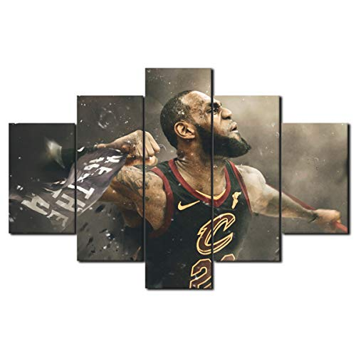 5 Piece Home Decorations 2016 NBA Champion Cleveland Cavaliers Canvas Prints Painting Lebron James in No 23 Basketball Jersey Fashion Black Wall Art Wooden Framed Ready to Hang(60''Wx40''H)