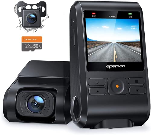 APEMAN Dual Dash Cam C550, 1080P Front and Rear Hidden Car Driving Recorder, IPS Screen, Night...