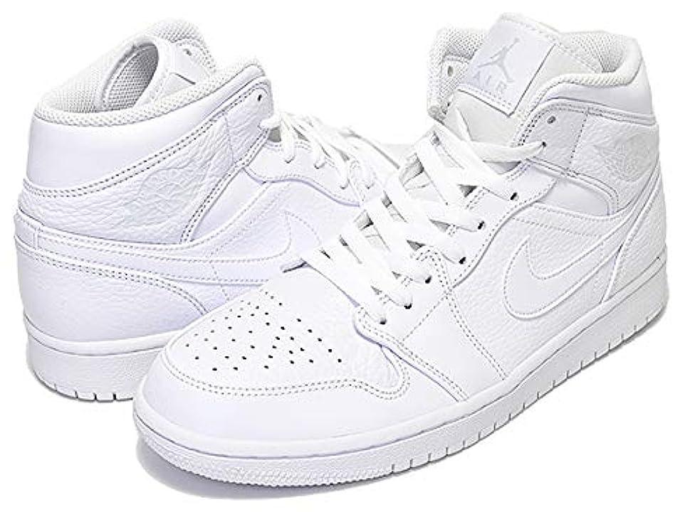 サンダース飼いならすユニークなジョーダン メンズ スニーカー Jordan AJ 1 Mid レトロ ミドルカット White/Pure Platinum/White [並行輸入品]