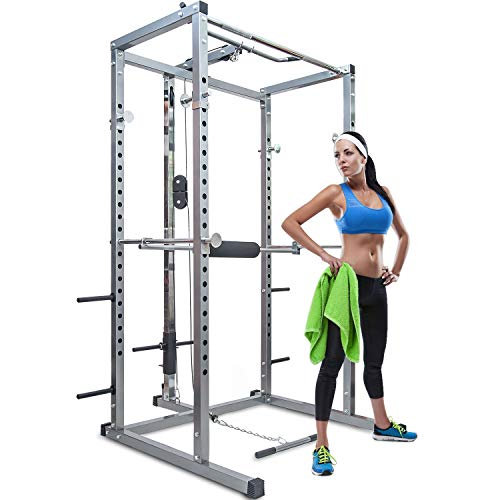 Merax Athletics Fitness Power Rack Olympic Squat Cage Home Gym with LAT Pull Attachment (Silver Power...