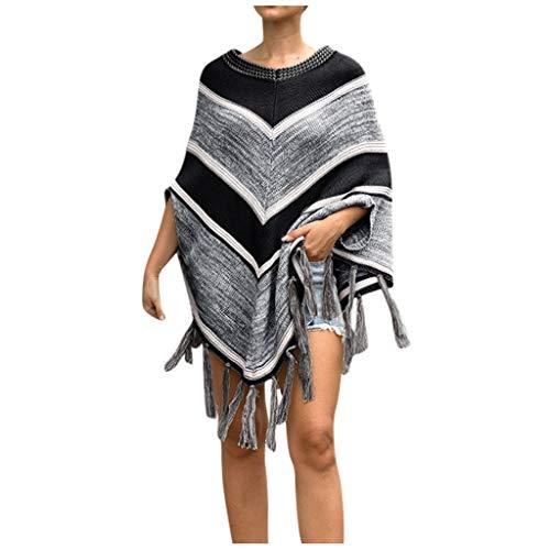 Damen Winter-Strick-Poncho aus Kaschmir, Schal, Strickjacke, Pullover, Mantel für jeden Tag, gestrickt, Oberbekleidung - Schwarz - Freie Größe