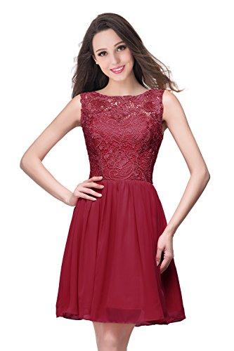 Short Chiffon Prom Dresses 2016 Sheer Lace Homecoming Dress,Burgundy,Size 16
