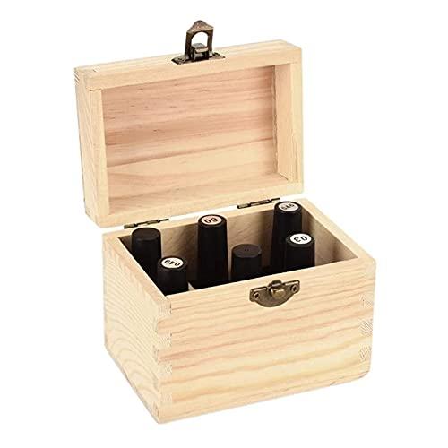 Caja De Almacenamiento De Aceite Esencial 1pc 6 ranura de madera caja de aceite esencial caja de botella de uñas esmalte de la caja de la caja aroma contenedor de almacenamiento cosmético caja de made