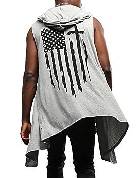 Poriff Mens Cardigans Sweaters Mens Cardigan Vest Light Grey American Flag