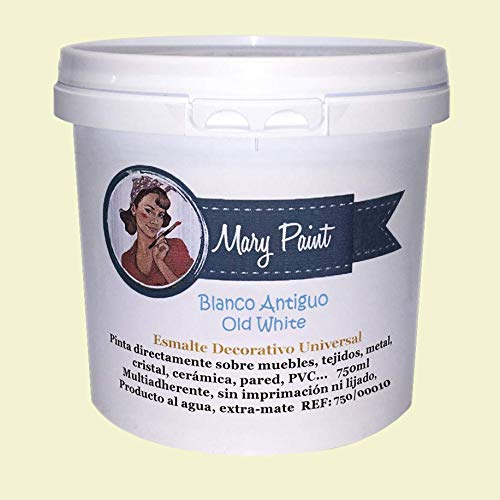 Mary Paint | Pintura para muebles efecto Chalk Paint, Blanco Antiguo - 750ml