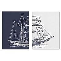 キャンバスアート絵画壁アート北欧塗装セーリングポスターボートプリント船海軍アートワークリビングルーム写真家の装飾-(50x70cm)X2フレームなし