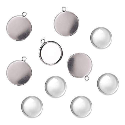 DROLE 100Pcs Bezel Pendant Blanks Settings-50Pcs Stainless Steel Pendant Trays Round Bezel with 50Pcs Glass Cabochons Clear Dome,12mm Pendant Blanks for Photo Pendant Craft Jewelry Making
