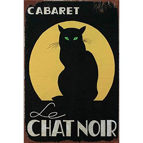 YOMIA 3020cm Black Cat Poster Vintage Metal Signs Tin Plate Sign Bar Mural Decoration