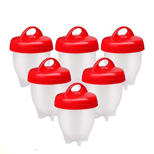 Cuoci Uova Sode, 6 Pezzi Cuociuova Bolli Uova Sode Silicone Senza Guscio Ovetti Strumento per Uova Sode Egg Cooker BPA Free.