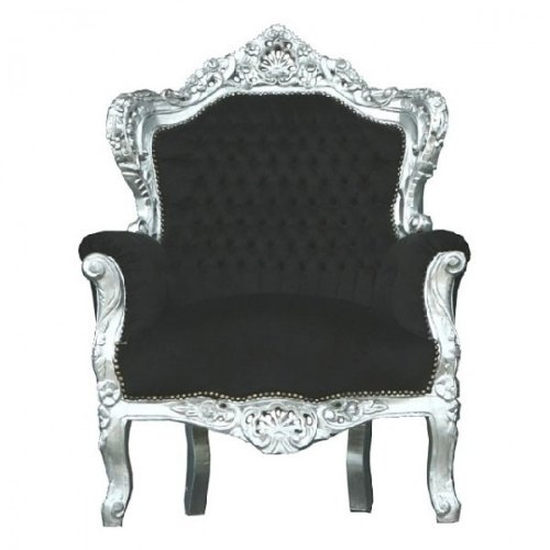 Casa Padrino Barock Stuhl 'King' Schwarz/Silber - Thron Tron Königsthron