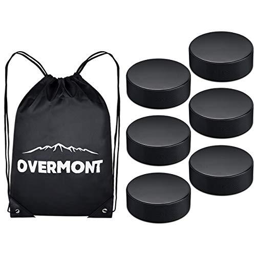 Overmont Ice Hockey Pucks Practice Hockey Pucks Sports Fan Hockey Pucks Ice Hockey Balls with Gym Drawstring Bag 6 PCS