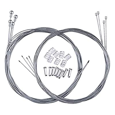 Hotop 2 Set Road Bike Brake Cable Bicycle Gear Cable Wire with Caps Complete Inner Replacement Set (Road Bike Brake Cable Style B)